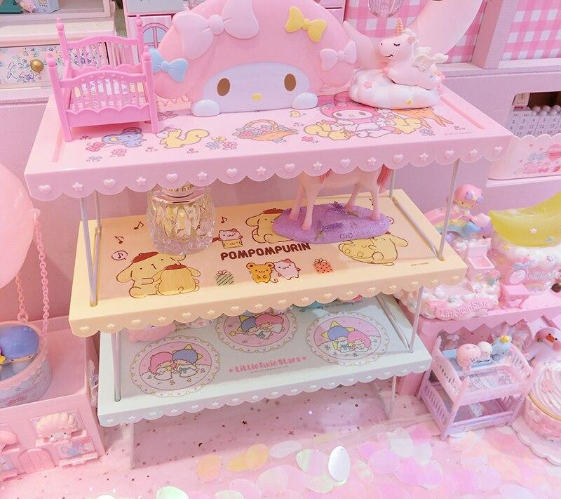 My Melody de dibujos animados, pomppurin, estrellas gemelas, bonita exhibición de cosméticos, plegable, accesorios para casa de muñecas