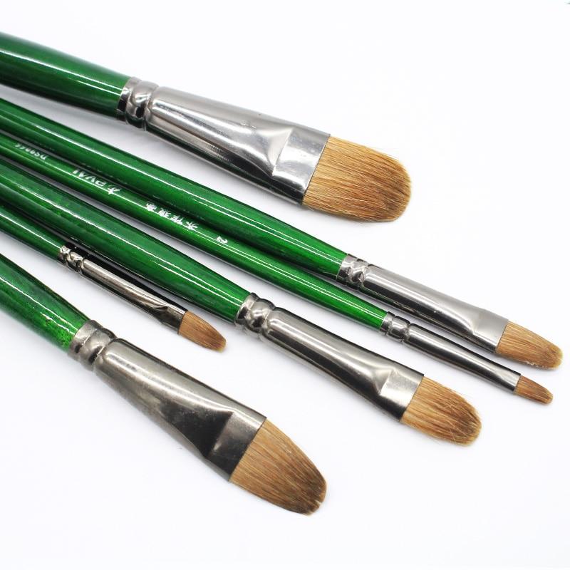 Juego de 6 uds de pelo de comadreja profesional de alto grado, pintura al óleo de fenogreco, pincel Filbert para lengua, pico, conjunto de Arte de dibujo Acrílico