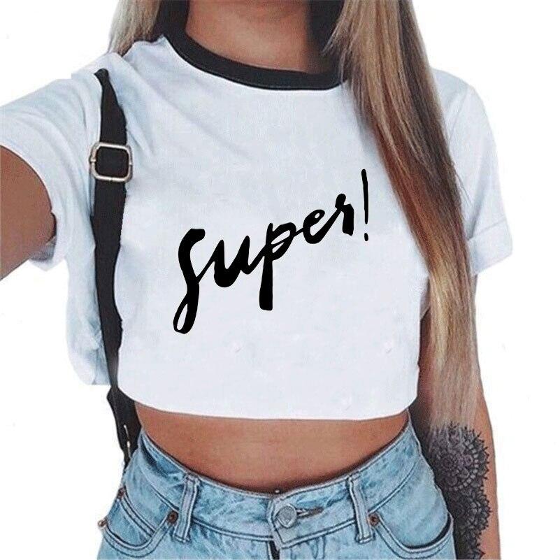 CDJLFH, camiseta para mujer, camisetas sexis informales, lindas, recortadas, camiseta de verano con letras, Camiseta corta de manga corta, camiseta Kawaii para mujer 2017