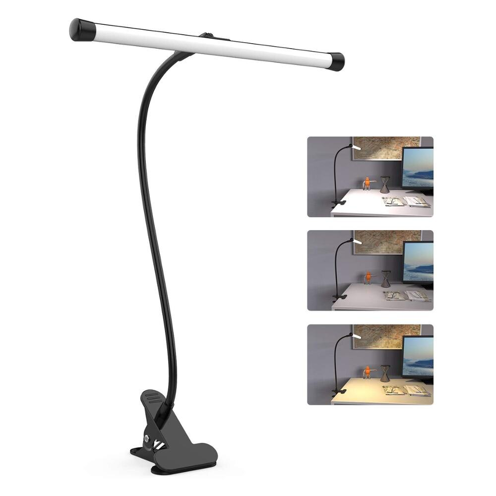 Lámpara de escritorio LED con abrazadera, brazo Flexible de cuello de cisne, lámpara de mesa de dibujo, 10 niveles de brillo, 3 modos de Color, 5W para lámpara de lectura de Piano
