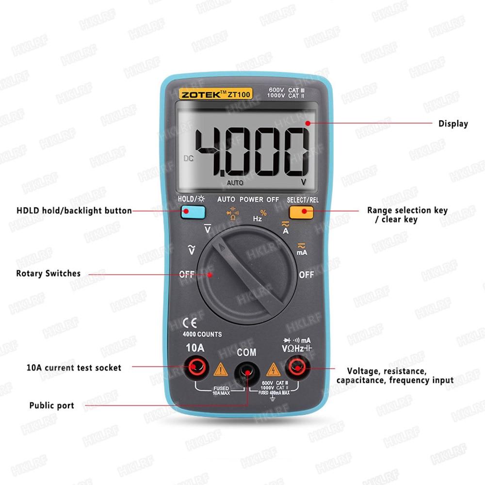 ZOTEK ZT100 multímetro Digital Multi probador luz trasera AC/DC voltímetro diodo Fres envío
