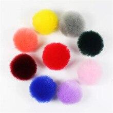 3 pièces 8cm pompon boules moelleux Faux lapin fourrure pompons pour bricolage porte-clés fabrication de bijoux résultats accessoires en gros 20 couleurs
