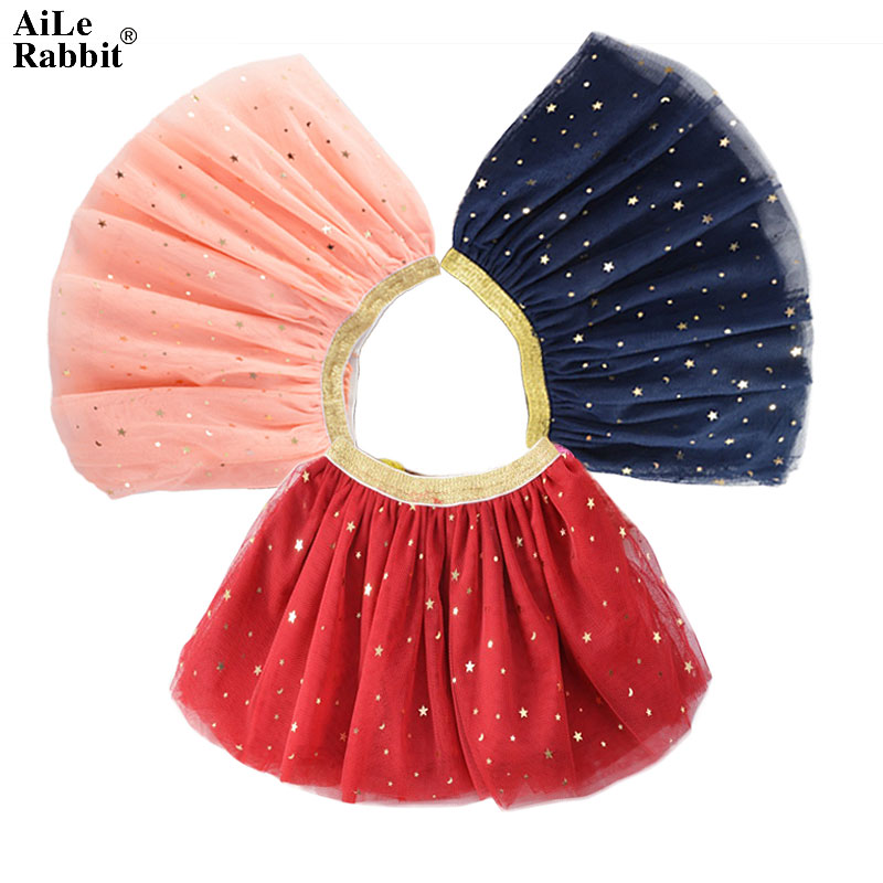 AiLe Rabbit/Новая Осенняя юбка для девочек Рождественская красная, темно-синяя юбка принцессы из пряжи и тюля с блестками и звездами детская одеж...