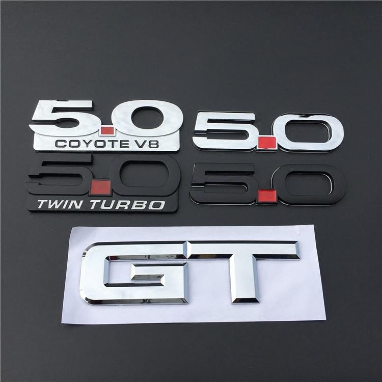 1 Uds. Auto 3D 5,0 Coyote V8 Twin Turbo guardabarros, emblema lateral, etiqueta engomada de la letra para el estilo del coche Ford Mustang GT