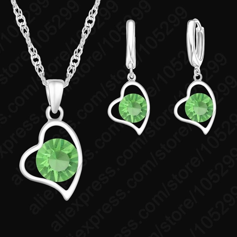 925-Стерлинговое-серебряное-пустое-сердце-ожерелье-и-капли-серьги-набор-для-девочек-день-рождения-подарочный-комплект-ювелирных-изделий-Опт