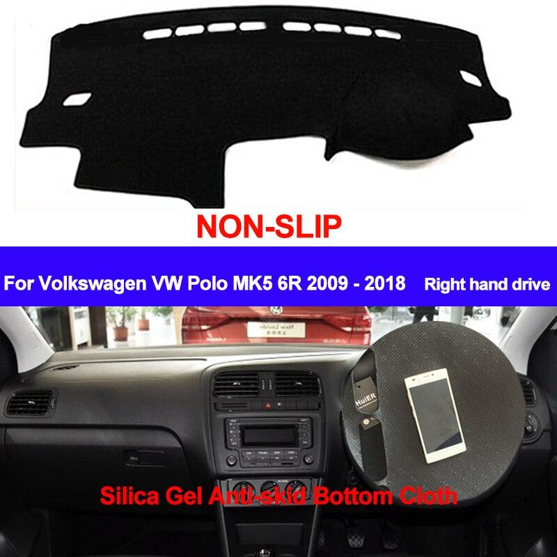 TAIJS para Volkswagen VW Polo MK5 6R 2009 2010 - 2015 2016 2017 2018 Dash Mat DashMat silicona antideslizante parasol cubierta del salpicadero