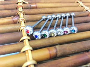 LOT50pcs  Surgical Steel CZ GemsTongue Ring Bar Nipple Barbells Body Piercing 14G~1.6mmx16mm NEW  Arrived Body Piercing Jewelry