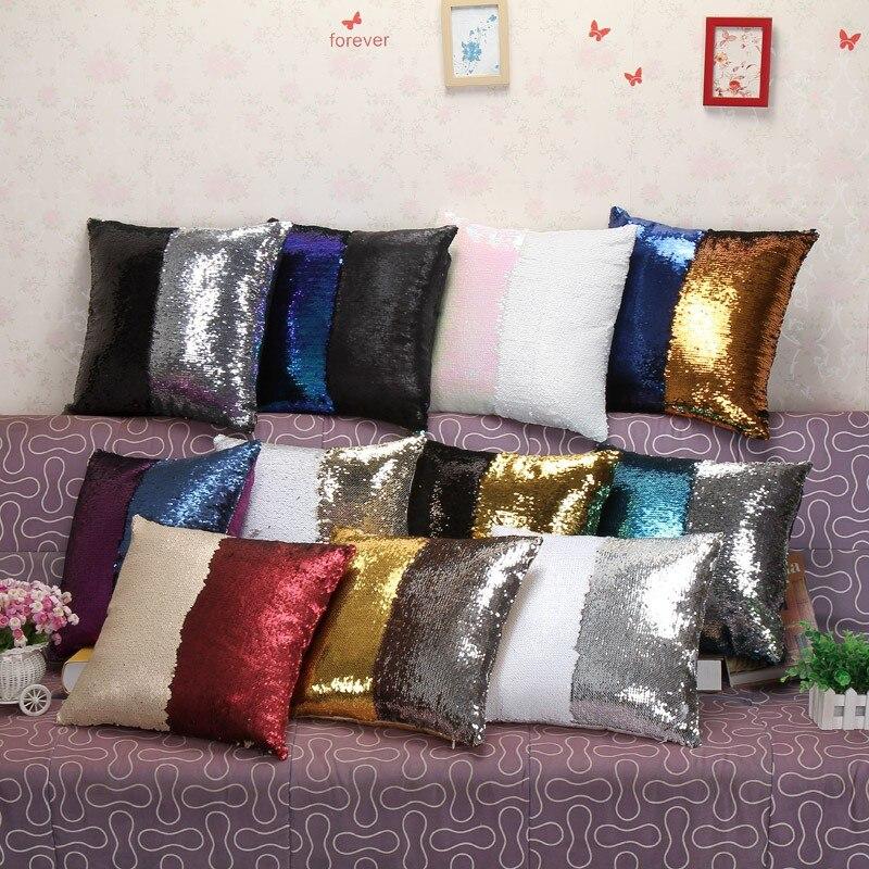 Almohada Reversible lentejuela sirena, cojín de color mágico, almohada cubierta sofá, decoración del hogar, funda de cojín decorativa, funda de almohada 40x40 cm