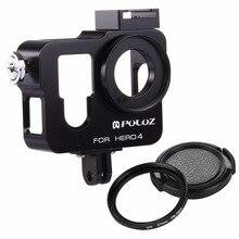 Coque de logement PULUZ CNC Cage de protection en alliage daluminium avec filtre à lentille UV 37mm et capuchon dobjectif pour GoPro HERO 4