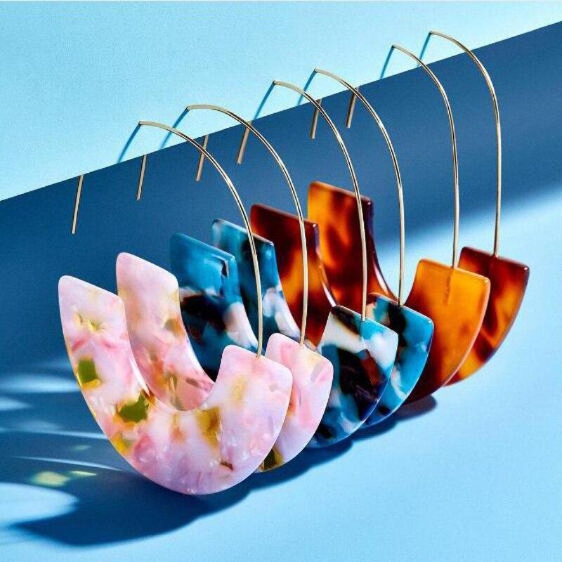 Gran oferta, pendientes de gancho grande semicircular de resina acrílica multicolor para mujer, pendientes geométricos de moda para mujer, joyería za