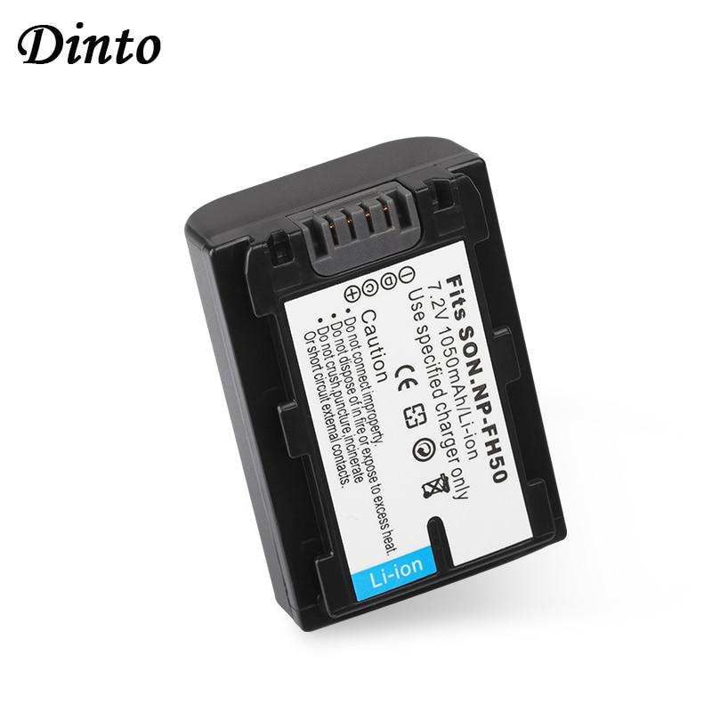 Dinto 1050mAh 7,2 V Batterie NP-FH50 NPFH50 NP FH50 Wiederaufladbare Kamera Batterie für DCRSR300E SR200E HDR-TG1 TG3 TG5 HDR-CX12E