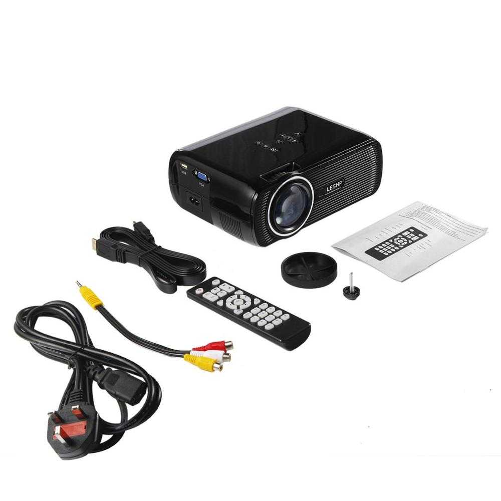LESHP, proyector LED de vídeo multimedios, 1080P, HD, para cine en casa, oficina, BL-80, 10001, negro