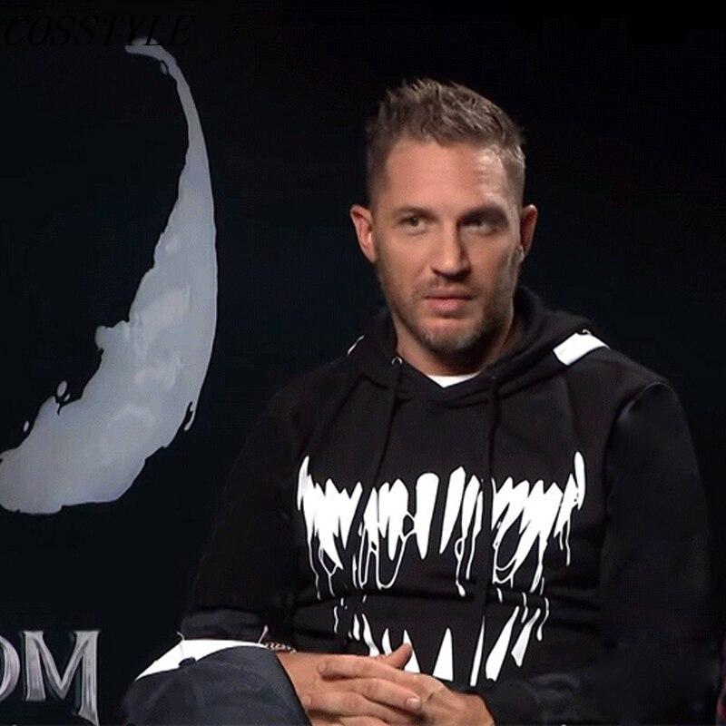 S-3XL Venom Tom Hardy Hoodie Superhero Cool Black White Autumn Winter Tops Casual Fleece Hoody Adult Hooded Coat Plus Velvet