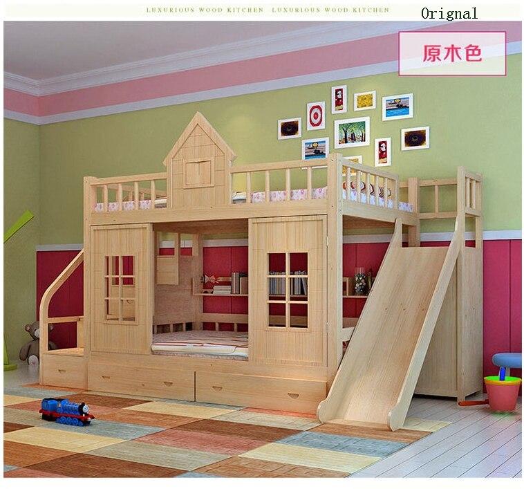 2016 cama de beliche de madeira moderna da cama das crianças da madeira maciça com deslizante do armário da escada