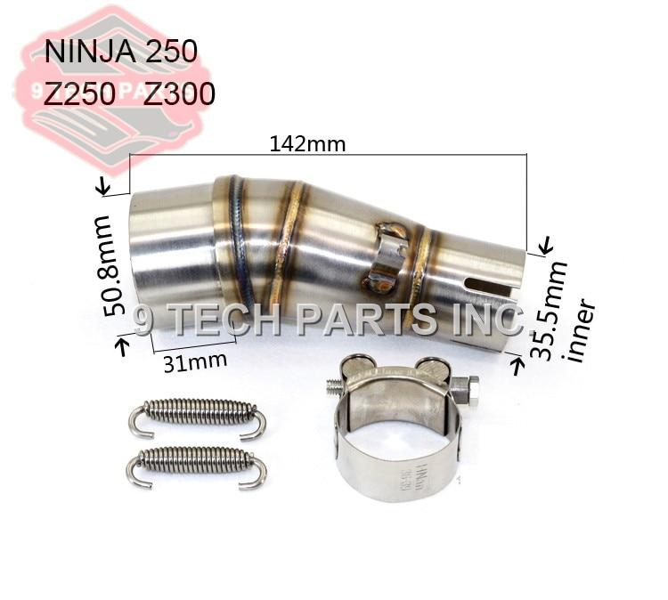 Tubo de escape medio de motocicleta silenciador de acero inoxidable tubo de conexión adaptador de sección media para 250 kawasaki Ninja 250R Z250 Z300