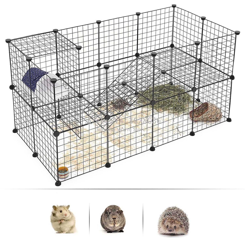 Jaula plegable DIY de malla de alambre para mascotas jaula para perro pequeño osito jaula para perro cercado para gatos jaula multifunción cerca Dotomy valla de hierro para mascotas