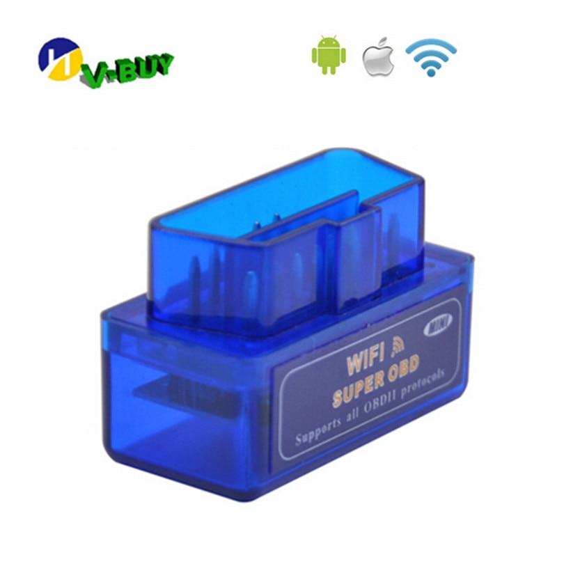 2019 superventas de Color azul Super Mini Wifi ELM327 V1.5 ELM 327 herramienta de diagnóstico de coche OBD2 soporte de escáner sistema Android e IOS