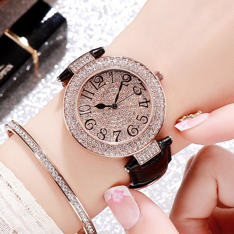 New Fashion Women Watches Big Dial Rhinestone Ladies Watch Luxury Bracelet Quartz Clock reloj mujer Dropshipping