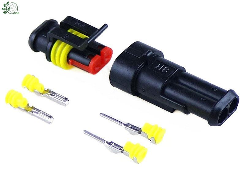 Комплект из 5 комплектов, 2-контактный водонепроницаемый Электрический провод, разъем для автомобиля