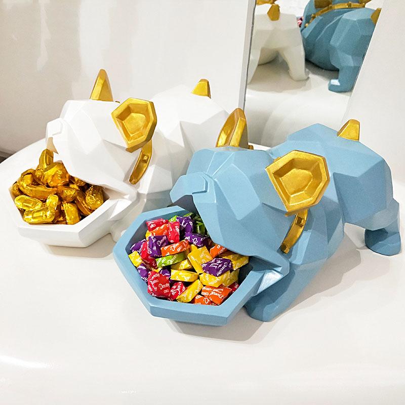 בולדוג מפתח תיבת אחסון בעלי החיים פסלי מזל כלב סוכריות תיבת שרף אמנות & קרפט אמנות פיסול בית קישוטי אביזרי R104