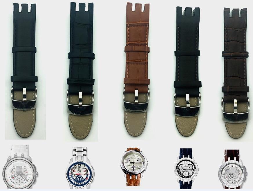 Bambú patrón correa de cuero genuino Watchstrap Pin broche pulseras para muestra YRS403 401 de 402G 412G 413 relojes de 418 BANDA DE 21mm