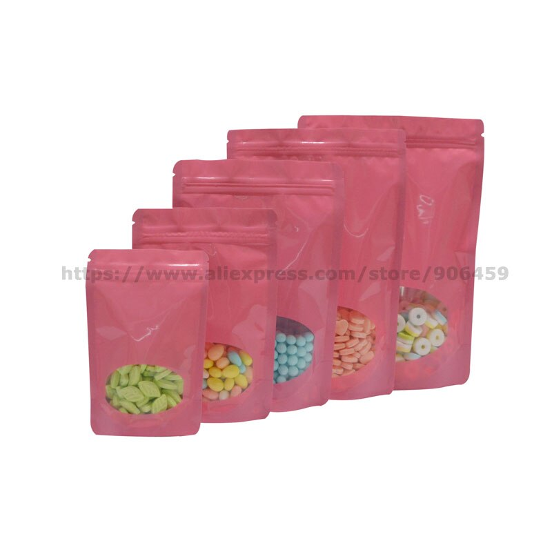 Envío Gratis 100 Uds bolsa de regalo rosa de pie té con ventana transparente autoseca Dood bolsa de embalaje bolsa de almacenamiento para Cocina