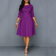 Mode femmes rétro tunique 3/4 à manches longues solide moulantes robes OL dames été col rond solide bouton robe Vintage