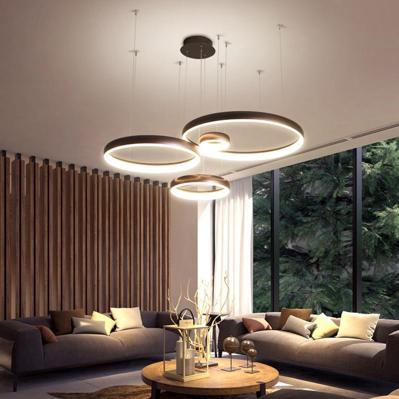 NEO Gleam Circel Ring Modern led Chandelier For Living Room Dining Room Shop Bar White/Coffee Color Hanging Chandelier Żyrandol