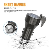1224v car cigarette charger dual usb led circle universal multifunctional car phone charger with emergency escape hammer