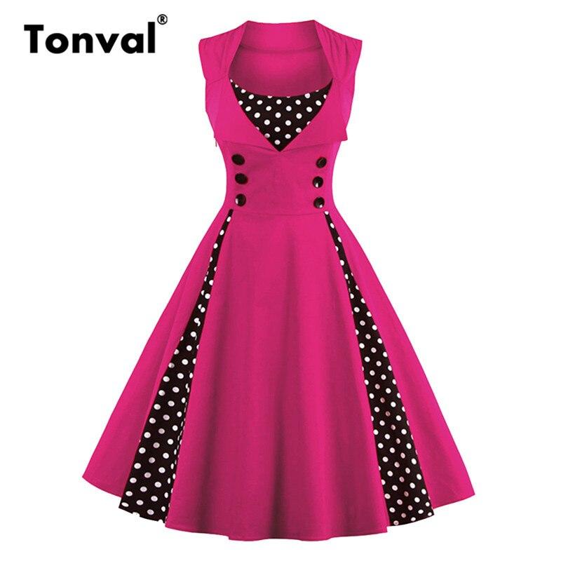 Женское винтажное платье Tonval, без рукавов, в горошек, на кнопках, для летней вечеринки, большого размера 4XL 5XL, хлопковые платья