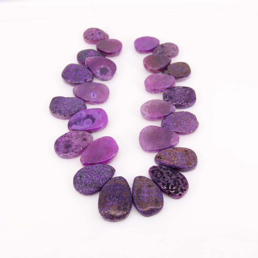 ¡Nuevo diseño! Colgante de cuentas en forma de lágrima Achate de vetas de dragón púrpura suave y áspera, piedras en bruto graduadas, placa rodaja