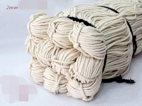 2/2. 5/3/4/5mm corda de algodão corda corda fio roupa de lavagem natural branco thong corda fio joias que faz a linha 100 metro