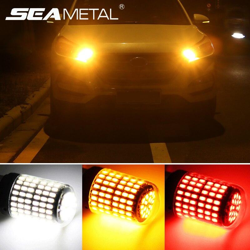 1pc T20 LED 7440 W21W W21/5W bombillas Led 144smd Canbus 1156 P21W LED BA15S PY21W BAU15S 1157 BAY15D lámpara para la luz de indicación de giro de coche