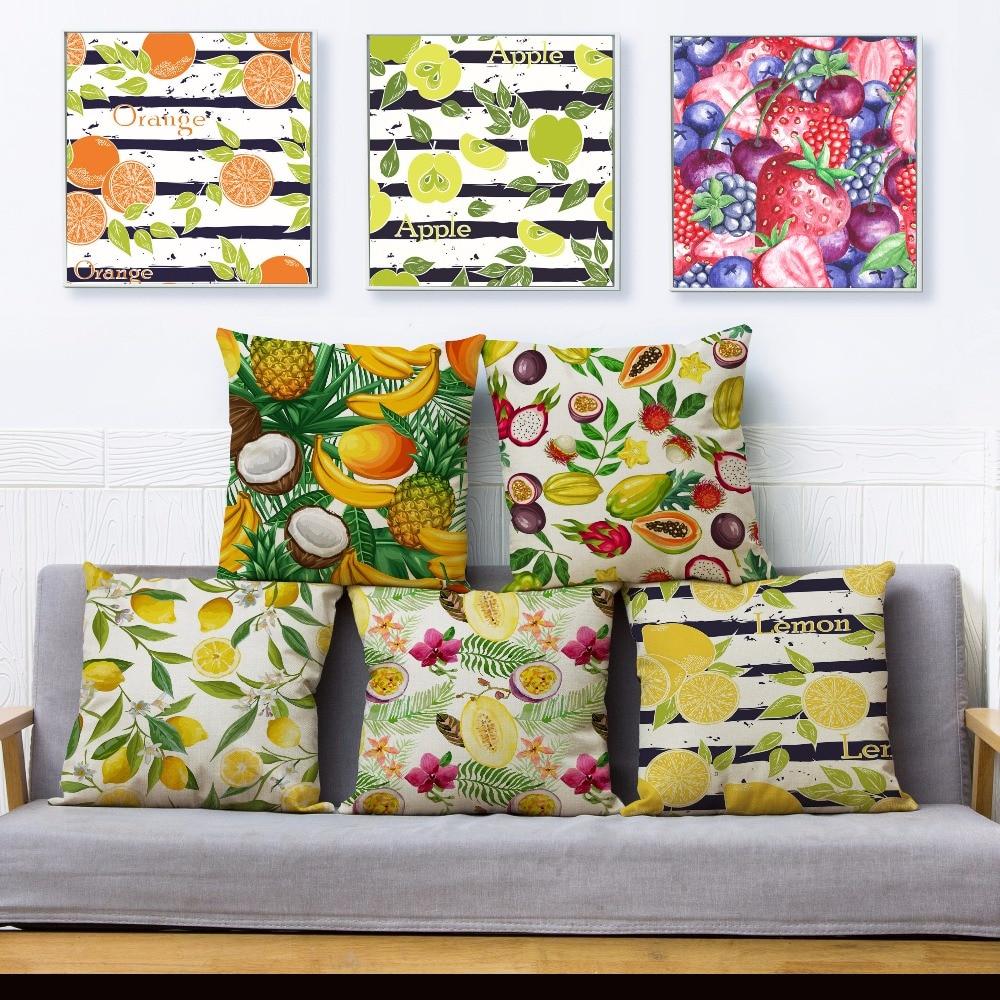 Funda de almohada con estampado de piña limón de fruta de dibujos animados 45*45cm fundas de Cojín cuadrado fundas de almohadas de lino funda de cojín de decoración para hogar