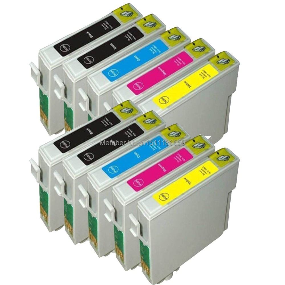 10pk cartuchos de tinta compatibles para stylus SX205 SX210 SX400 SX405 SX510 SX600 SX610 B40W BX300F T0711-T0714