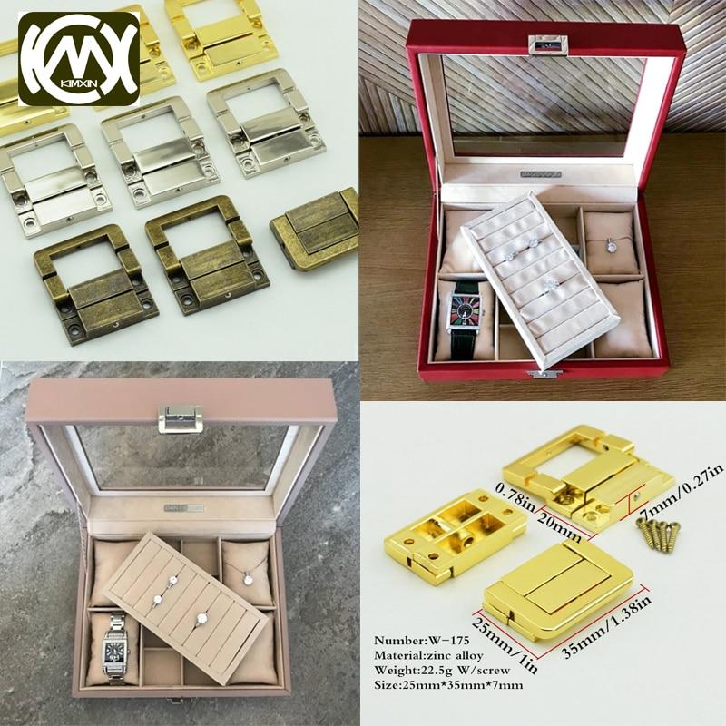 20 piezas, 25x35mm, KIMXIN, aleación de Zinc, caja de madera, accesorios de hardware, caja de colección, cerraduras de bloqueo para caja de reloj, Pestillos de madera, w-175