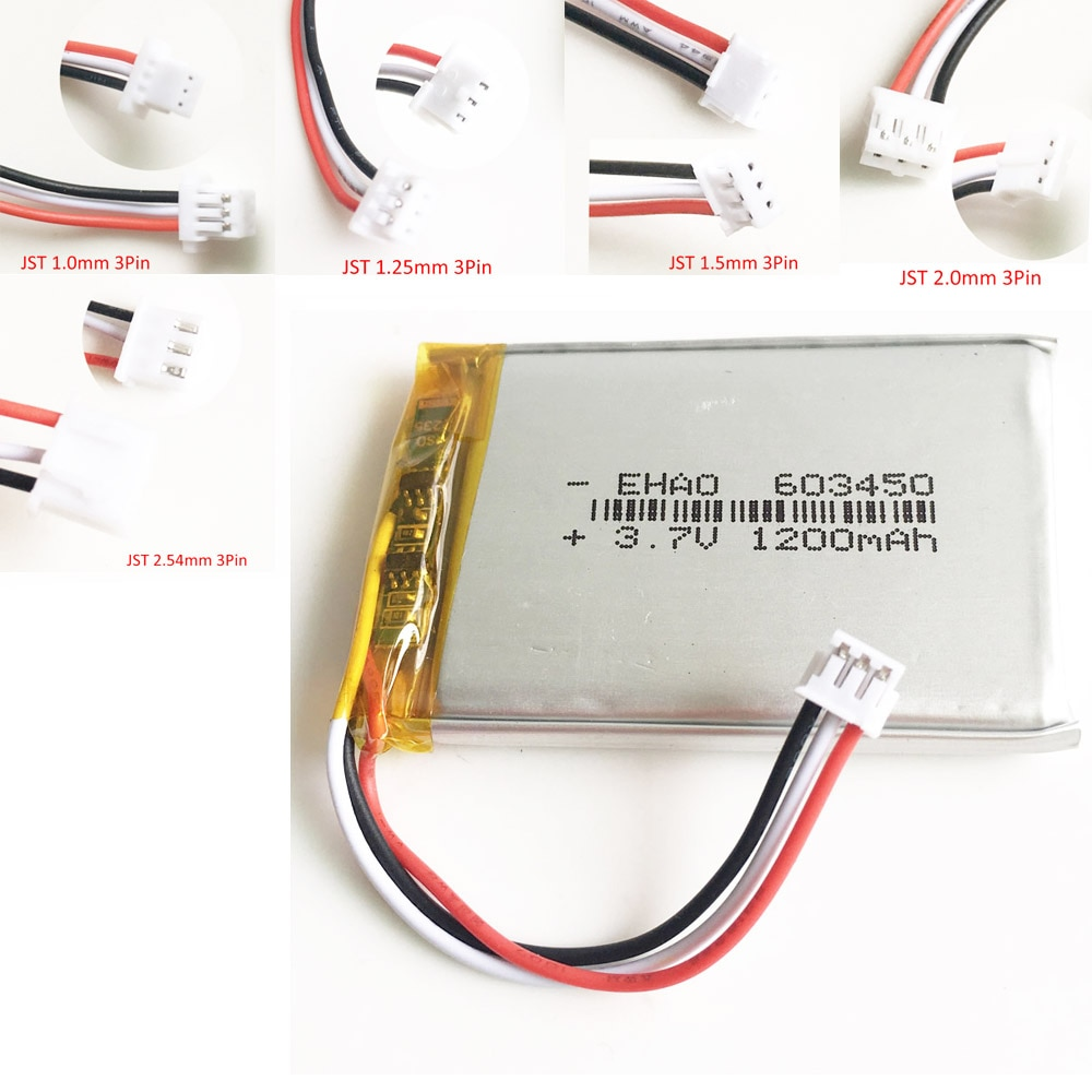 3,7 V 1200mAh литий-полимерная LiPo аккумуляторная батарея JST 1,0/1,25/1,5/2,0/2,5 3pin разъем F PAD камера GPS динамик ноутбук