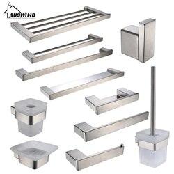 Prata escovado Sus 304 Aço Inoxidável Acessórios Do Banheiro Definir Escova de Vaso Sanitário Titular Barra de Toalha Suporte de Toalha de Banho Conjunto de Hardware