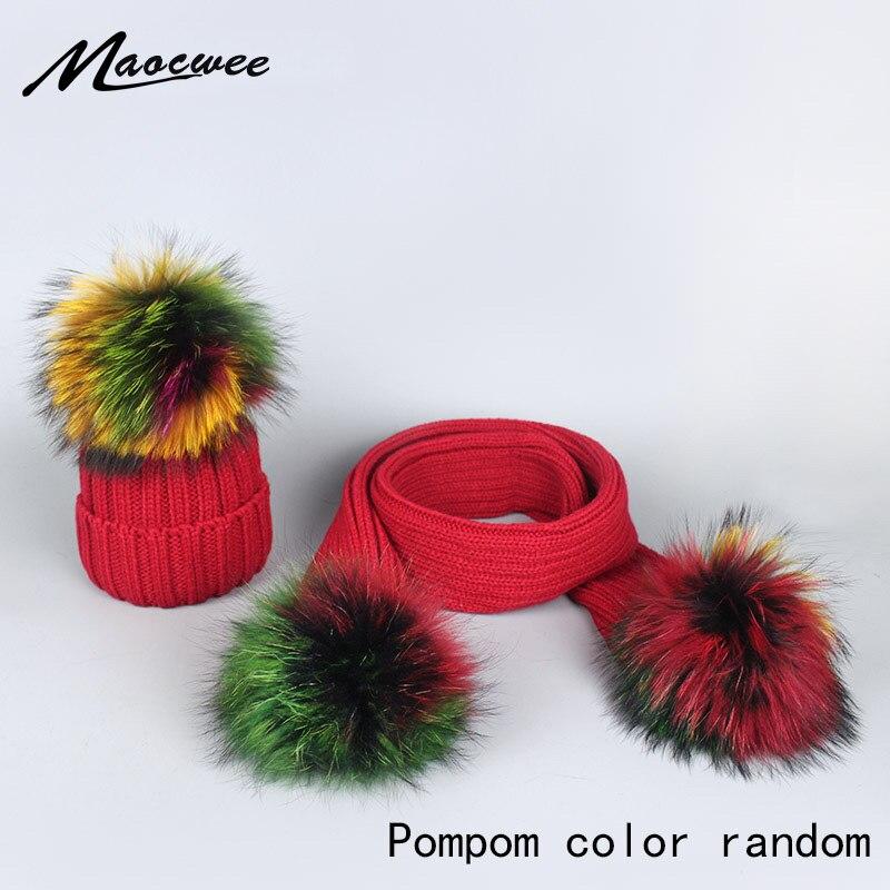 Las mujeres y los niños sombrero Casual colorido Pom gorros para chicas Fox pompón Piel de mapache de mujer de invierno cálido de punto