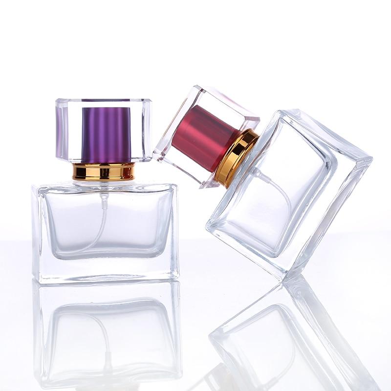 1 шт. 30 мл стеклянная флакон для духов квадратной формы в многоразовом стеклянном флакон с распылителем, косметическая упаковка