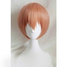 Amor viver rin hoshizora cosplay perucas curto laranja resistente ao calor do cabelo sintético perucas peruca cosplay + peruca boné