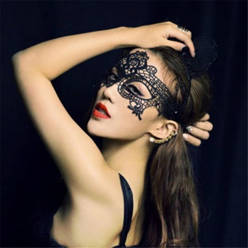 2018 New Punk Girls Women Sexy Ball Lace Mask Catwoman Masquerade Dancing Party Eye Mask Cat Halloween Fancy NightDress
