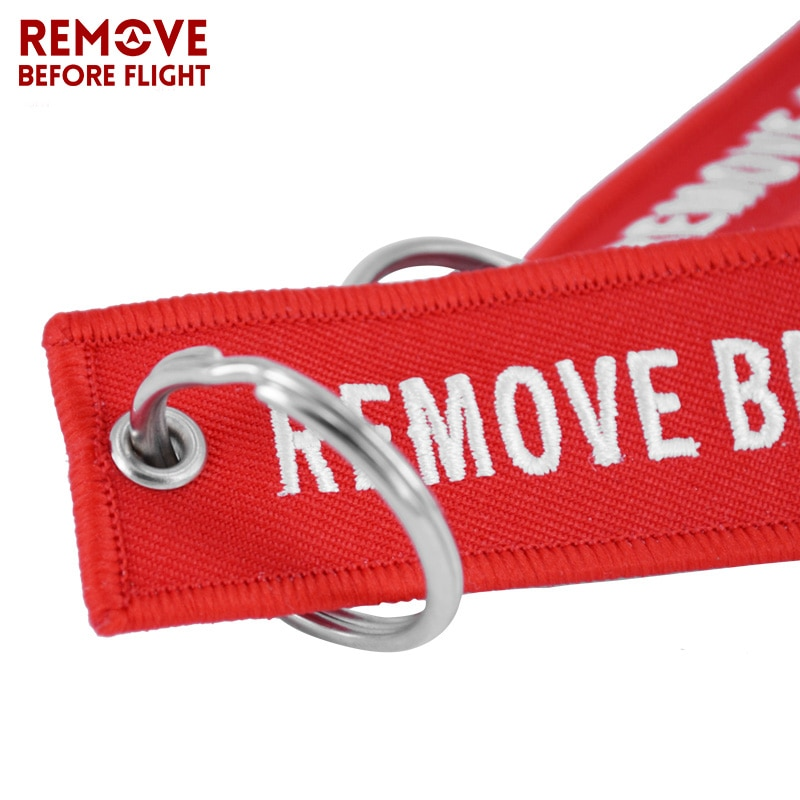 REMOVE BEFORE FLIGHT Wholesale Keychain for Motorcycles and Cars Key Chains Jewelry 100 PCS Aviation Gifts Embroidery Key Chain