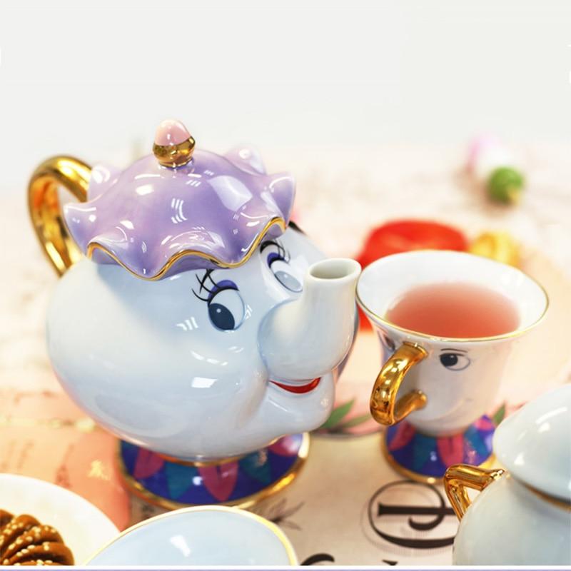 Juego de té genuino de La Bella y La Bestia, juego de café, pegatina para tetera Mrs Potts, juego de tazas, bonito regalo de cumpleaños