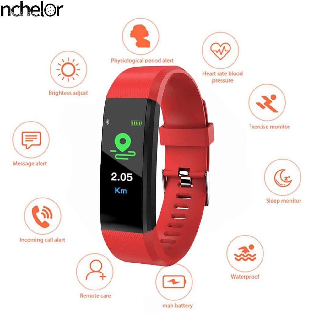 Esporte relógio feminino relógio masculino pulseira inteligente tela colorida banda inteligente freqüência cardíaca pressão arterial pedômetro conexão android ios