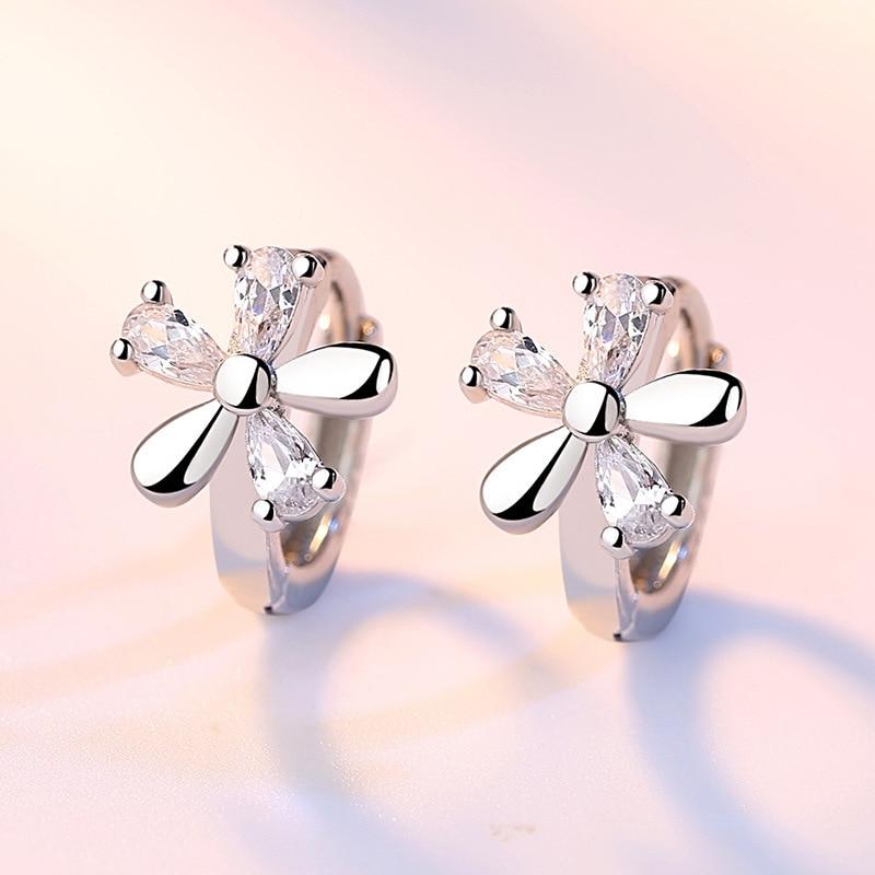 Fanqieliu Sterling 925 Silver Earrings Natural Crystal Small Flower Hoop Earrings For Woman FQL3235