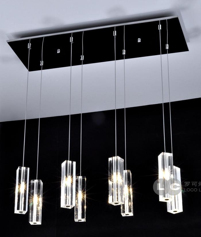 Modern minimalist rectang crystal pendant light for bar dining room  5 head /8 crystal hanging lighting lamp