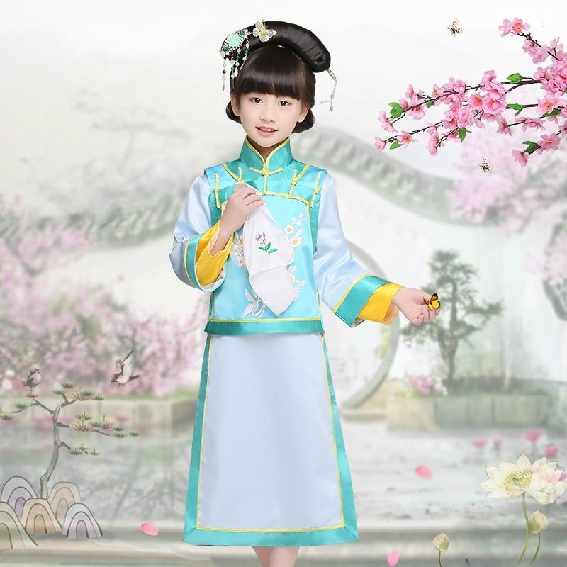 طفل زي فتاة تشينغ الصينية الشعبية زي فتاة الصينية الأميرة زي هالوين الحزب تأثيري زي مرحلة perforamce 18