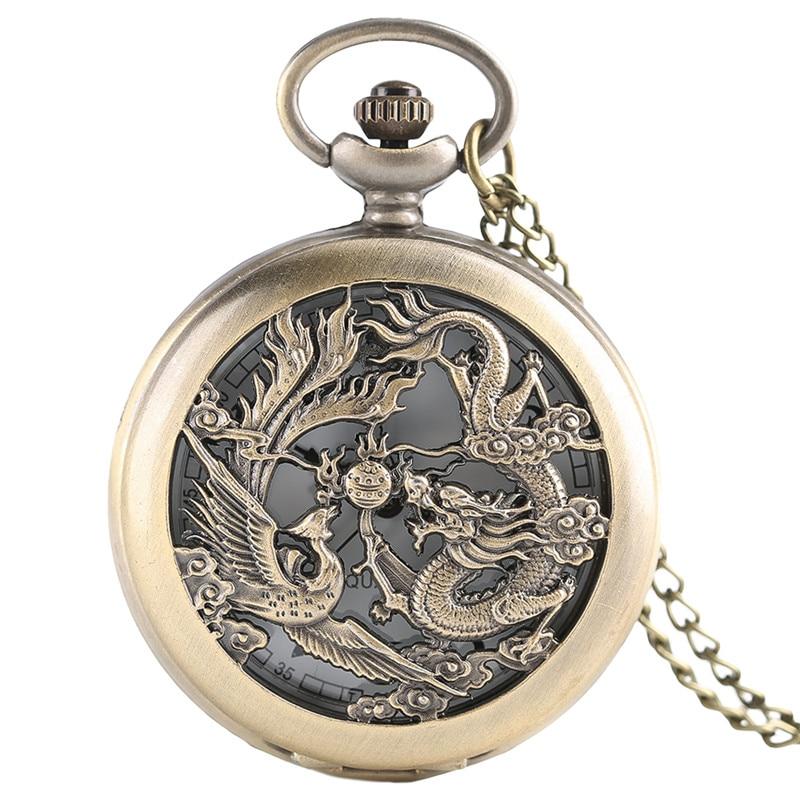 Часы с подвеской в виде полуохотника, в стиле ретро, с полым драконом и Фениксом, мужские и женские карманные часы с цепочкой, модные крутые ч...