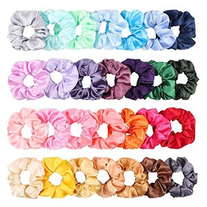 20 Pcs Colorful Silk Satin Hair Scrunchies Set Ponytail Holder Hair Accessories Ropes Scrunchy Solid Color Traceless Hair Ties